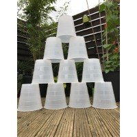 10 X 10 Litre  Recycled White / Translucent Plant Pots (Central Hole)