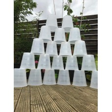 20 X 10 Litre Recycled Translucent / White Striped Plastic Plant Pots