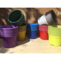 100 x COLOURED 9CM POTS