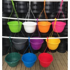 27CM PLASTIC HANGING POTS / BASKETS PLANTERS X6 - VARIOUS COLOURS