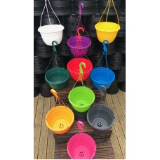 27CM PLASTIC HANGING POTS / BASKETS PLANTERS X3 - VARIOUS COLOURS