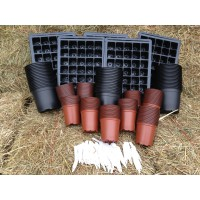 SEED STARTER KIT - LARGE ( 5 xTRAYS + INSERTS, 100 x 9CM & 50 x 13CM PLANT POTS + LABELS