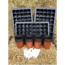 SEED STARTER KIT  - SMALL ( 3 x TRAYS, 3 x 40 CELL INSERTS, 25 x 9CM PLANT POTS + 25 LABELS )