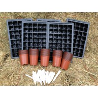 SEED STARTER KIT - MEDIUM ( 5 x TRAYS, 5 x 40 INSERTS, 50 x 9CM PLANT POTS) + 50 LABELS